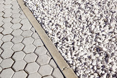 Floor design with terrace tiles and ornamental gravel Various materials for flooring in the garden Building materials. For gardening Professional gardening Royalty Free Stock Image