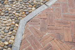 Floor design with terrace tiles and ornamental gravel Various materials for flooring in the garden Building materials. For gardening Professional gardening Royalty Free Stock Photos