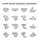 Floor drain icon. Floor drain or drainage equipment vector icon set Stock Photography