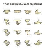 Floor drain icon. Floor drain or drainage equipment vector icon set Royalty Free Stock Photo