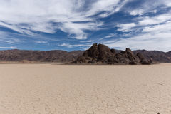 Floor of a dry lake with cracked mud Stock Image