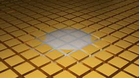 Floor of Golden Cubes with a Beginning of Wave. In the Middle Royalty Free Stock Images