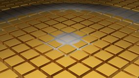 Floor of Golden Cubes with a Big Circle Wave and a Small One. In the Middle Stock Image