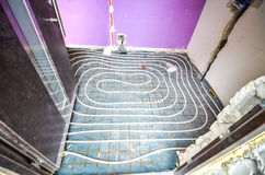 Floor Heating instalation Stock Image