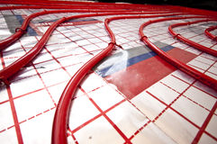 Floor heating installation Royalty Free Stock Photos