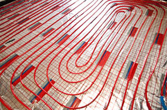 Floor heating installation Stock Photography