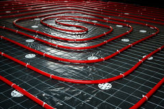 Floor heating pipe. Installation of engineering systems in a bui Royalty Free Stock Images