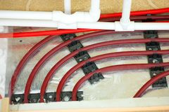 Floor heating pipe. Installation of engineering systems in a building. royalty free stock photography
