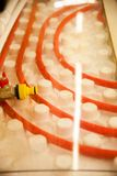 Floor heating pipe. Installation of engineering systems in a building. stock image