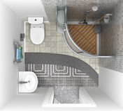 Floor heating system in the bathroom, top view. Stock Image