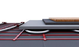 Floor heating system. We see layers of insulation for heating. 3 stock photos