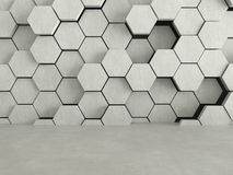 Floor and hexagons concrete pattern background. 3D rendering Stock Image