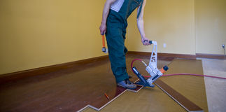 Floor installation. Home improvement with floor installation Royalty Free Stock Photography