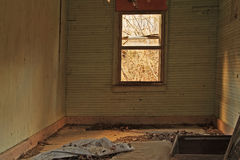 On the Floor. Interior of an abandoned home in the backwoods of West Virginia Royalty Free Stock Image