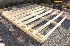 Floor Joist Construction. An image of floor joist construction for a garden shed Stock Photo