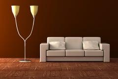 Floor lamp and sofa. Royalty Free Stock Photo