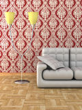Floor lamp and sofa. Stock Images