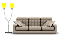 Floor lamp and sofa on a white background Royalty Free Stock Photography