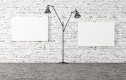 Floor lamp and two posters 3d render Royalty Free Stock Image