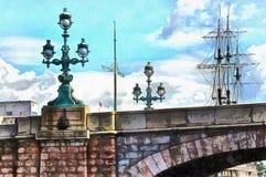 Floor lamps Troitsky bridge in St. Petersburg royalty free illustration