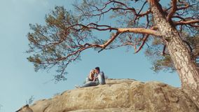 Floor level view of a young couple in casual wear sitting, and chatting on the rocky mountain hill. High green tree and. Clear blue sky on the background stock video footage