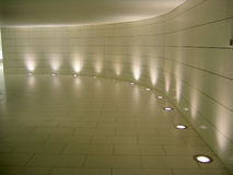 Floor lights in the underground corridor royalty free stock images