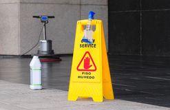 Floor maintenance. Caution sign on floor of building Royalty Free Stock Images