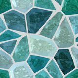 Floor marble irregular plastic stony mosaic pattern texture seamless background with light gray grout - turquoise blue col Stock Images