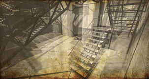 Floor. Modern industrial interior, stairs, clean space in indust Royalty Free Stock Photos