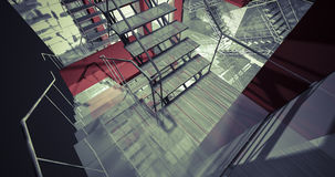 Floor. Modern industrial interior, stairs, clean space in indust Royalty Free Stock Photography
