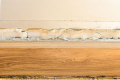 Floor moldings and paint color swelling on old white wall Stock Photography