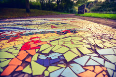 Floor mosaic background. In Barnsley-UK park Royalty Free Stock Photography