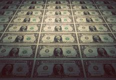 Floor of one dollar banknotes. Vintage mood Royalty Free Stock Images