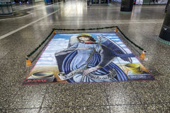 Floor painting of holy Mary Stock Photo