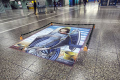 Floor painting of holy Mary Royalty Free Stock Image