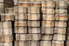 Floor pavement concrete blocks. A pile of floor pavement concrete blocks Royalty Free Stock Images