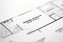 Floor Plan 1. House floor plan highlighting the master bedroom stock image