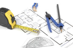 Floor Plan. With tools to design and measure royalty free stock image