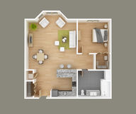 Floor plan. Apartment floor plan 3D illustration Stock Photography