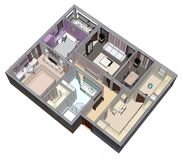 Floor plan of the apartment or house. 3d renderig. Floor plan of the apartment or house. 3d renderig Stock Photography