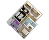 Floor plan of the apartment or house. 3d renderig. Floor plan of the apartment or house. 3d renderig Royalty Free Stock Image