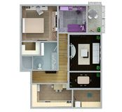 Floor plan of the apartment or house. 3d renderig. Floor plan of the apartment or house. 3d renderig Stock Image