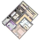 Floor plan of the apartment or house. 3d renderig. Floor plan of the apartment or house. 3d renderig Royalty Free Stock Photo