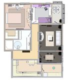 Floor plan of the apartment or house. 3d renderig. Floor plan of the apartment or house. 3d renderig Royalty Free Stock Photos