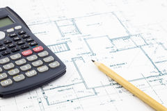 Floor plan and calculator Royalty Free Stock Image