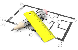 The floor plan. 3d generated picture of a floor plan, a pencil and a ruler vector illustration
