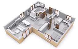 Floor plan 3D. 3d slice floor plan visualization Stock Photos