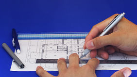 Floor Plan Design 2. Isolated hand drawing a floor design Royalty Free Stock Images