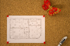 Floor plan diagram on a corkboard Royalty Free Stock Photography