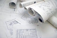 Floor plan drawing. Lots of architecture floor plan drawings royalty free stock image